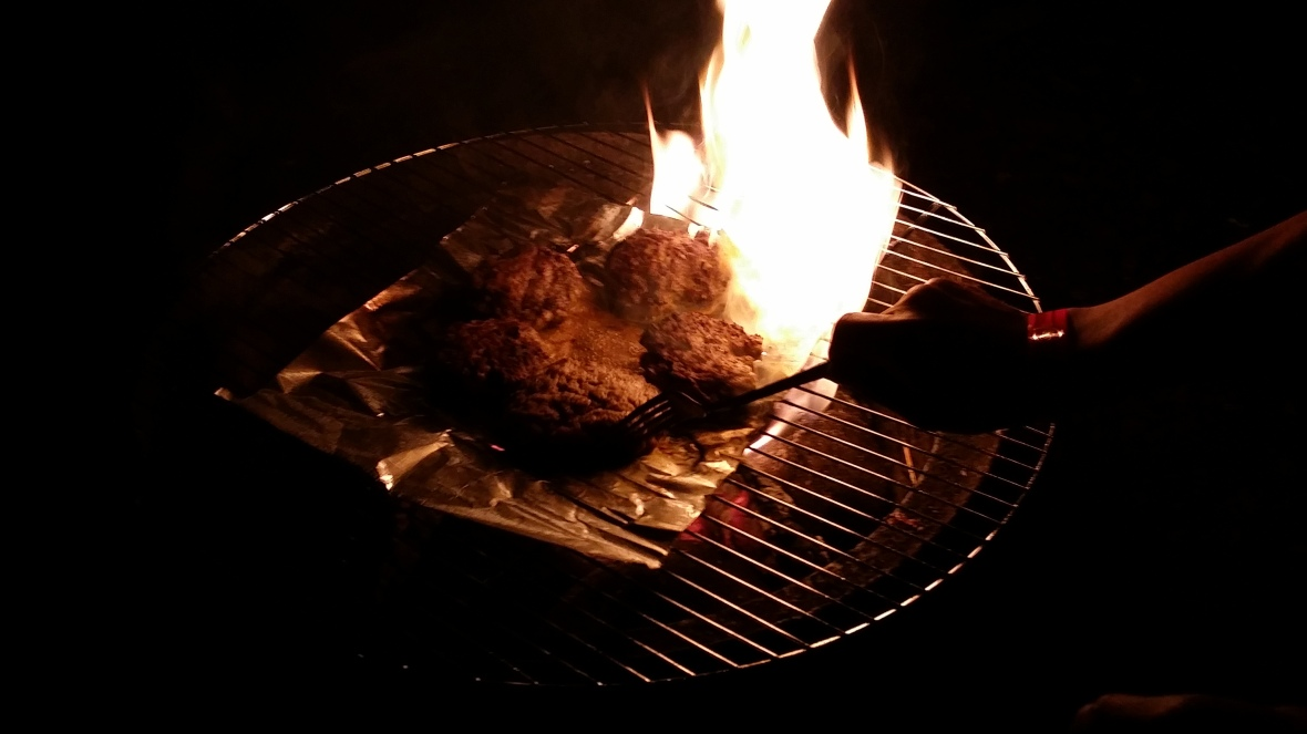 Night Grilling Over Open Flame