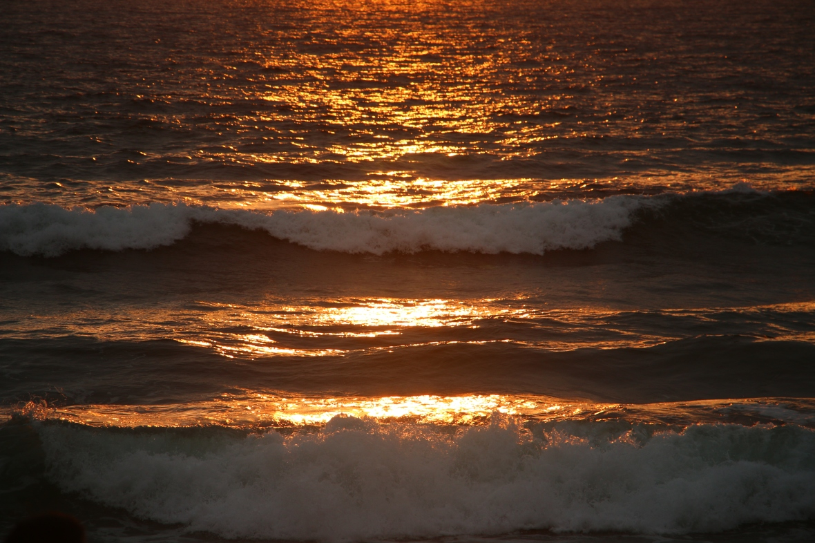 Sunset kissed waves