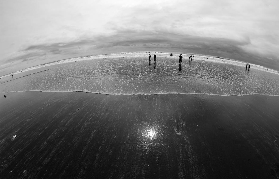Beach Scene Black & White 2