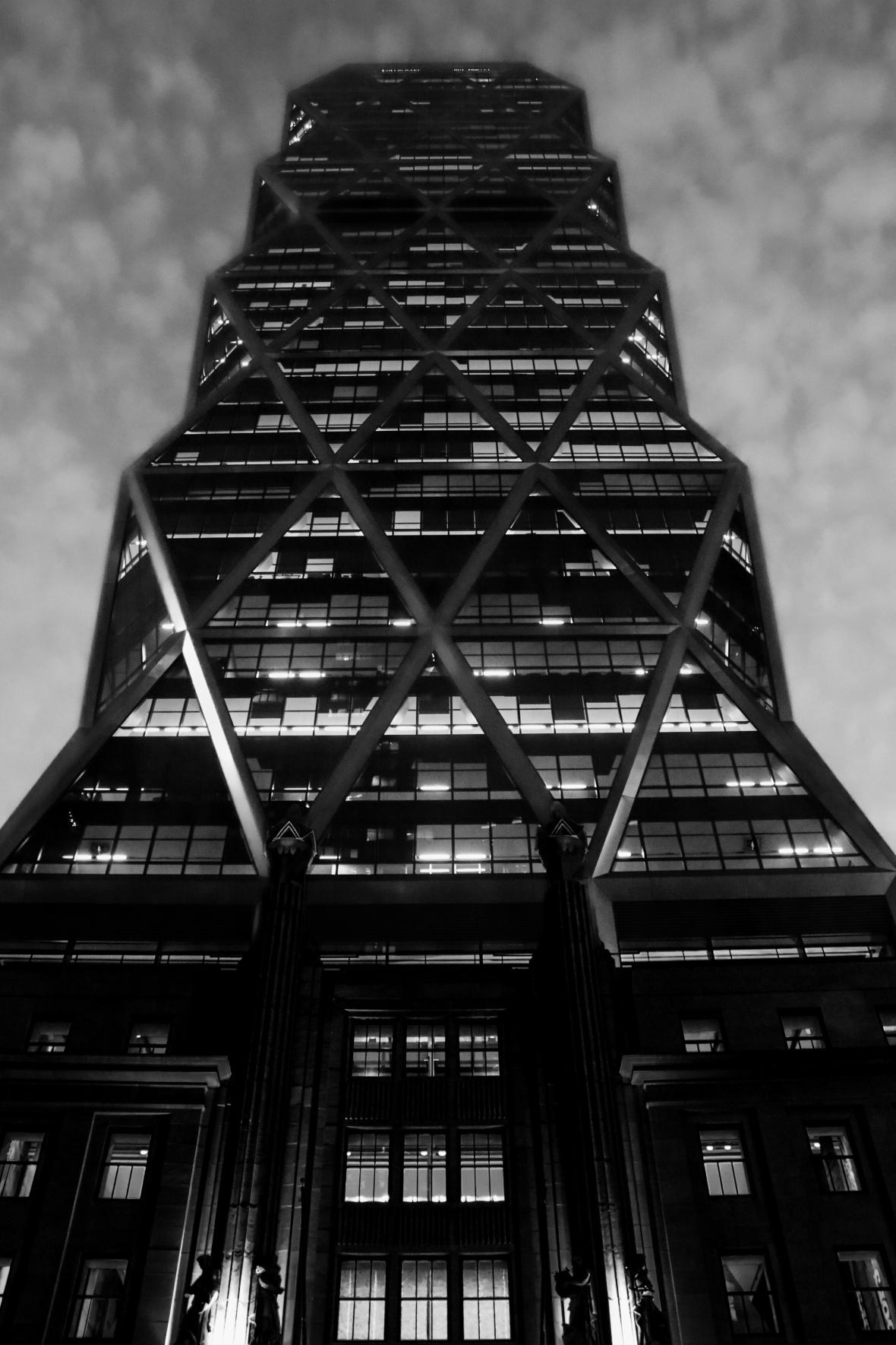 Glass Building on 58th Columbus Circle B + W