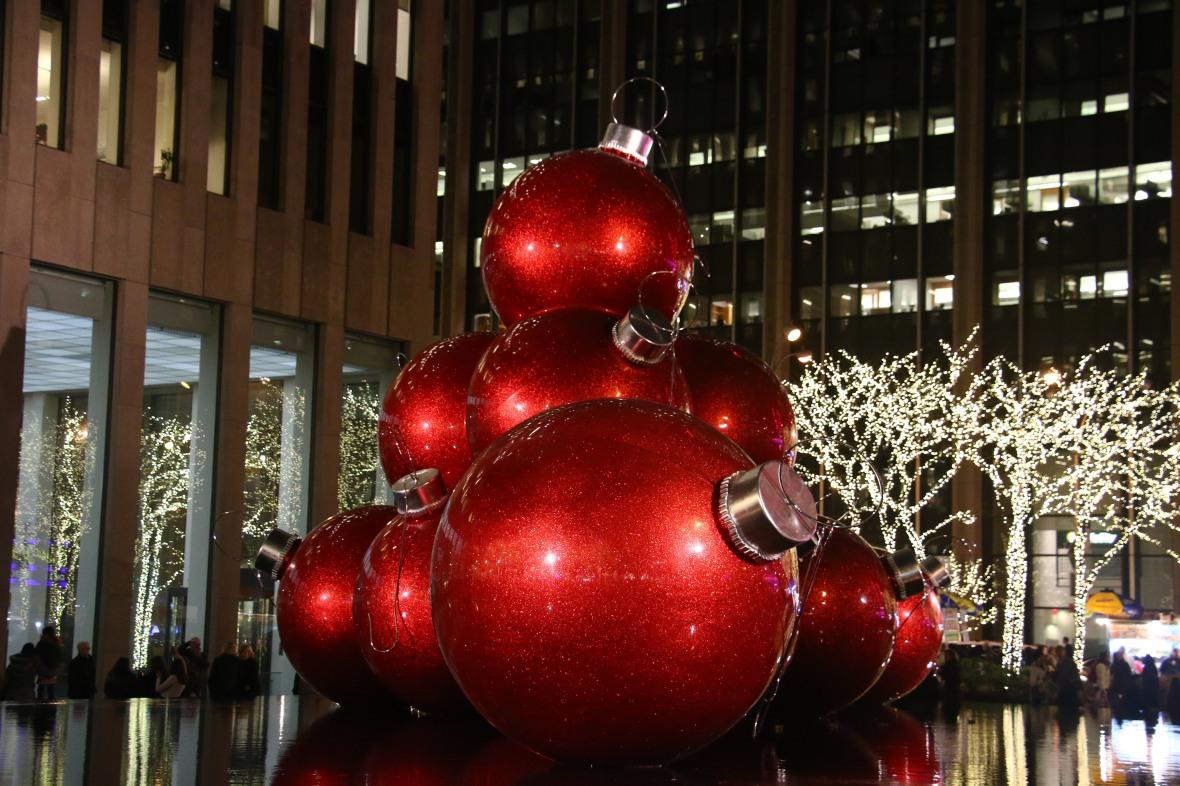 Giant Red Christmas Balls 2015