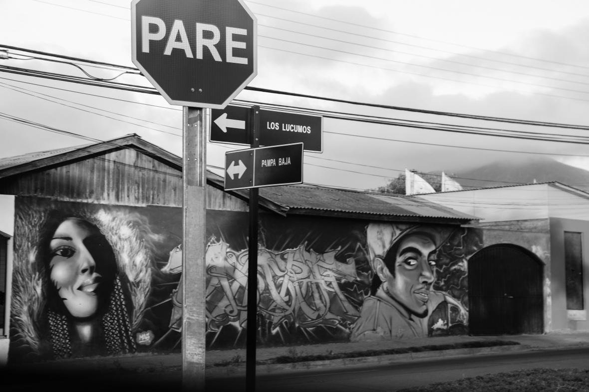 B + W Street Murals of Santiago Chile